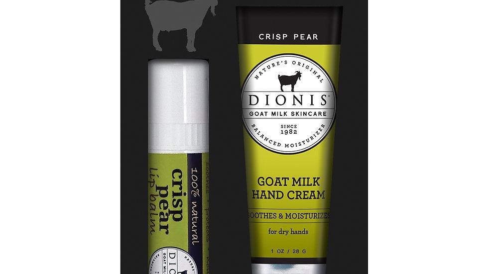 Dionis Goat Milk Skincare Lip Balm and 1 oz Hand Cream Gift Set, Crisp Pear