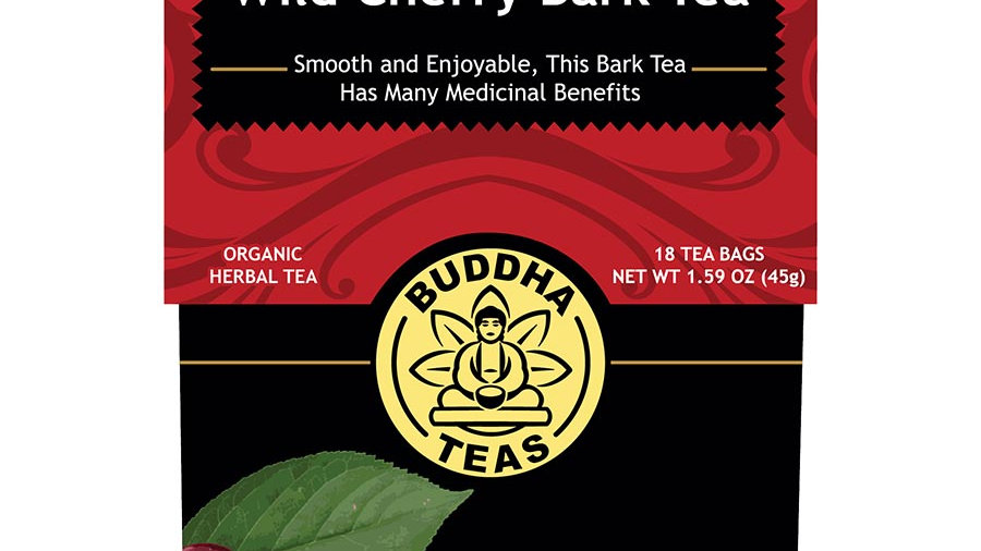Buddha Teas Organic Wild Cherry Bark Herbal Tea 18 tea bags - Antiviral, Antibac