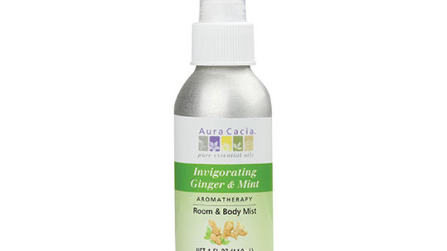 Aura Cacia Ginger & Mint Invigorating Aromatherapy Room and Body Mist 4 fl. oz.