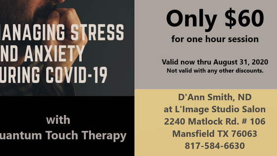 Get Rid of Your Anxiety and Stress with Quantum Touch Therapy $60