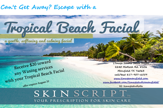 Save $20 on any wax service when you 'Sail Away to your Tropical Beach Facial'