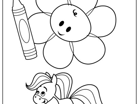 Blossom and Rainbow Horse Coloring Page