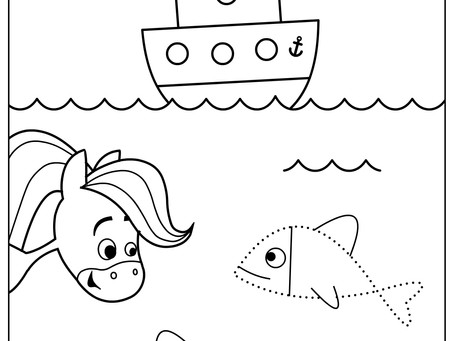 Rainbow Horse Coloring Pages - Blue, Orange, and Brown