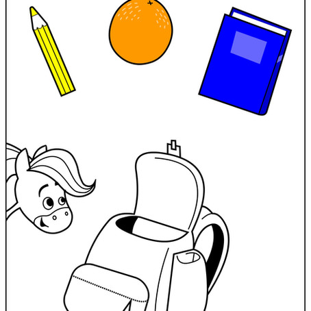 Rainbow Horse Backpack Coloring Pages