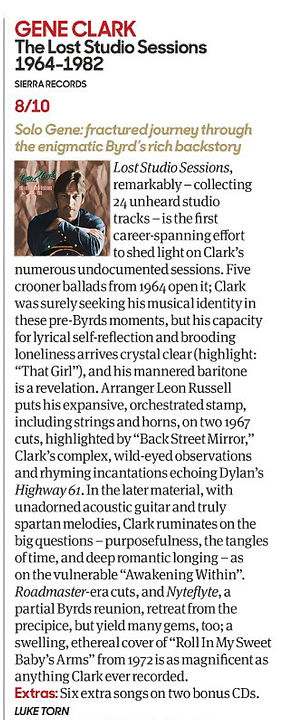 Gene Clark Lost Studio Sessions review by Luke Torn, Uncut magazine