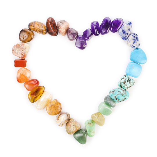 Heart of colorful semiprecious gemstones