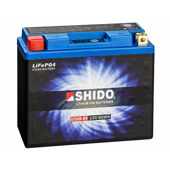 SHIDO LTX12B–BS LITHIUM ION MOTORCYCLE BATTERY: 12V 60WH