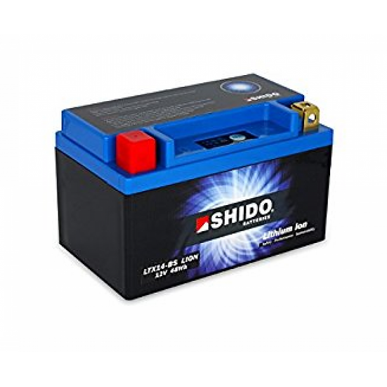 SHIDO LTX14–BS LITHIUM ION MOTORCYCLE BATTERY: 12V 48WH