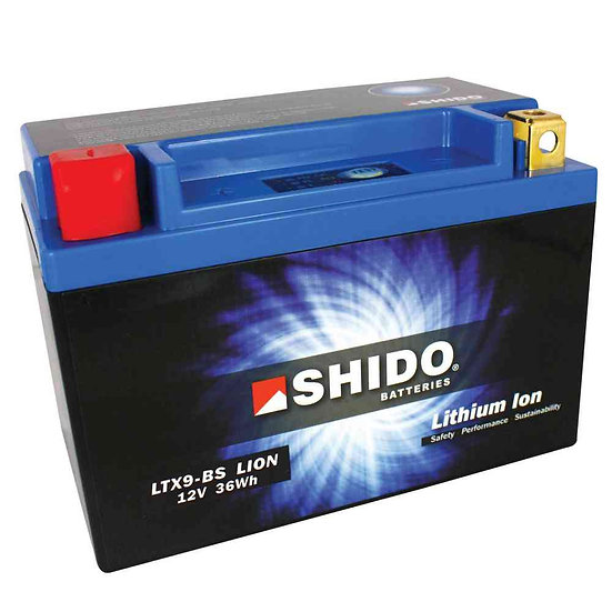 SHIDO LTX9–BS LITHIUM ION MOTORCYCLE BATTERY: 12V 36WH