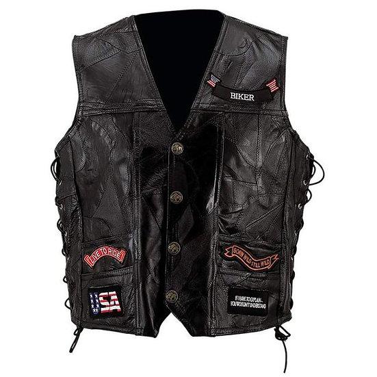 HARLEY DAVIDSON - Biker Vest Lace-Up Buffalo Leather Motorcycle