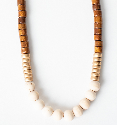 Natural Wood & Gold Necklace
