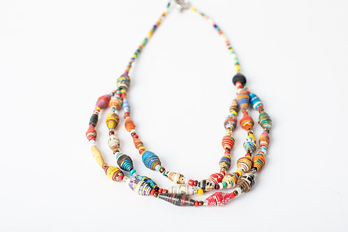 Multicolor Paper Beads Necklace