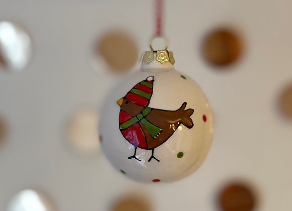 Robin with Hat - Bauble