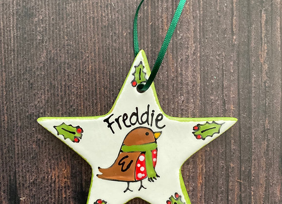 Robin in Scarf - Christmas Star Decoration