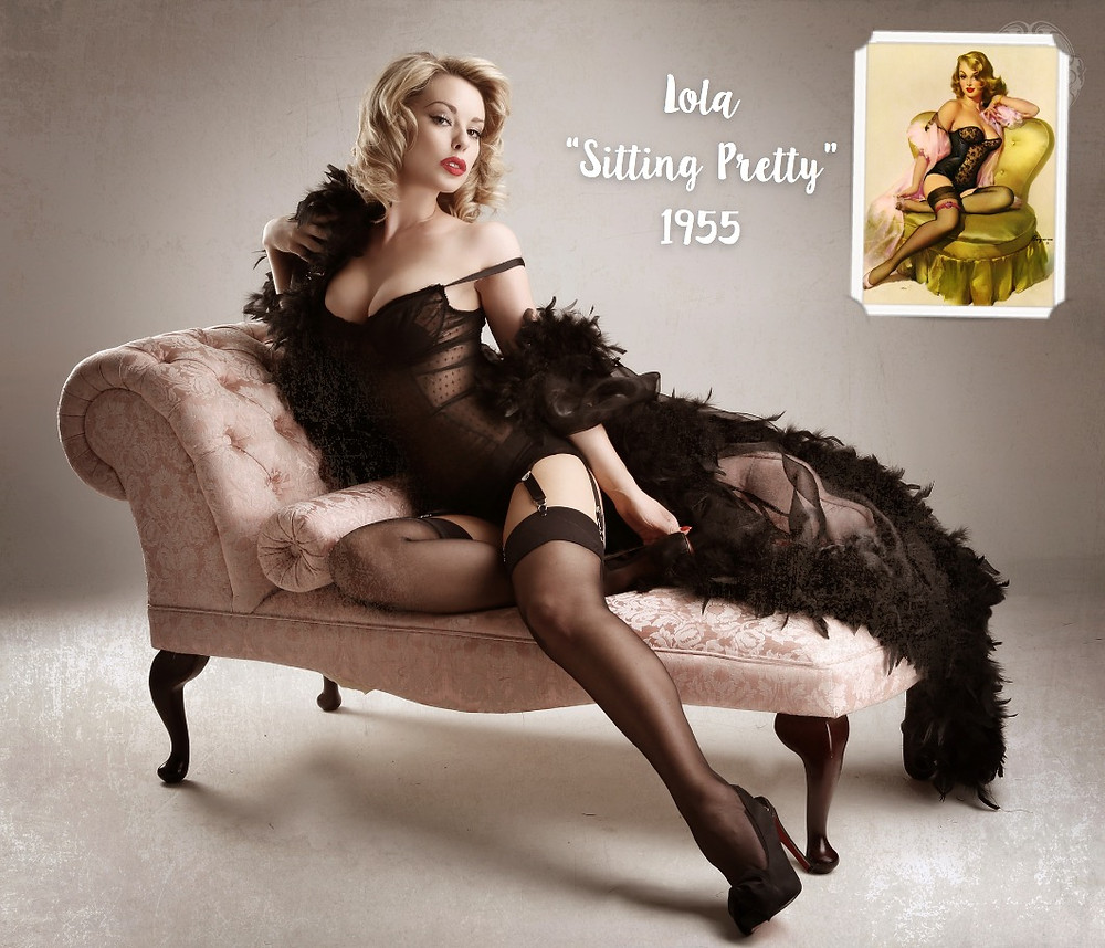 Lola Sitting Pretty 1955 Gil Elvgren inspired recreation pin up art with Heather Valentine Model by Dollhouse Photography