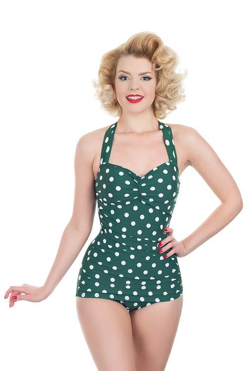 Retro Green and White Polka Dot Swimsuit