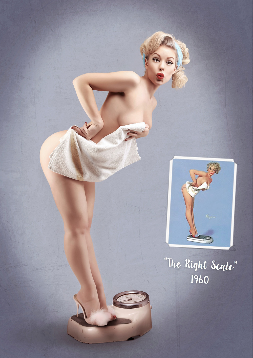 The Right Scale 1960 Gil Elvgren inspired recreation pin up art with Heather Valentine Model by Dollhouse Photography