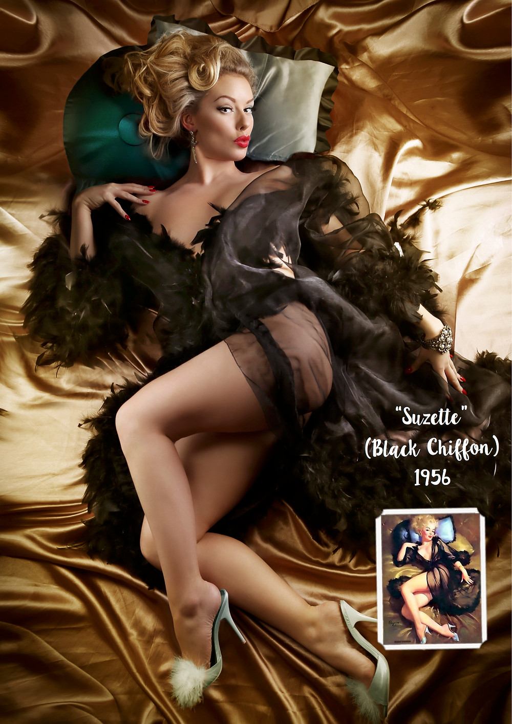 Suzette Black Chiffon 1956 Gil Elvgren inspired recreation pin up art with Heather Valentine Model by Dollhouse Photography | Boudoir Pinup