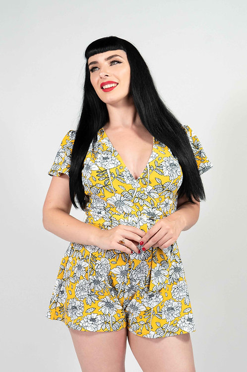Yellow Floral Romper Playsuit