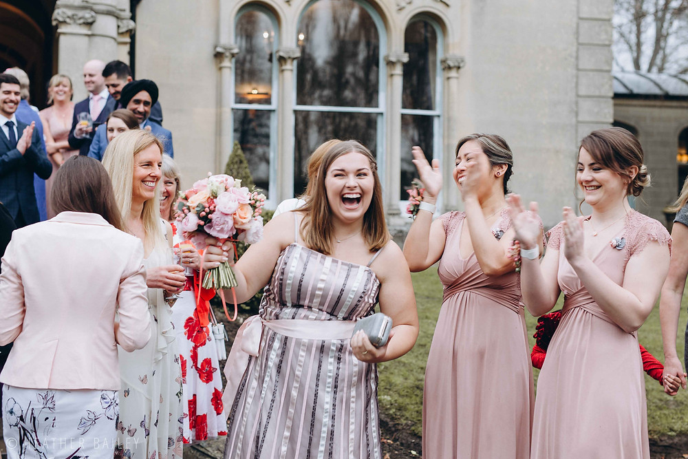 Bouquet Toss - Photographer at Beechfield House, Melksham, Wiltshire - Heather Bailey Wedding Photography and Videography