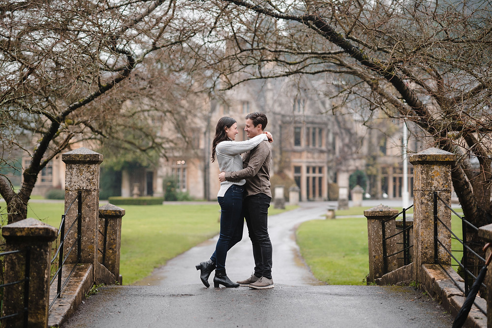 Engagement Photography at Castle Combe Wiltshire. Winter stule photo shoot by Wedding Photographer Heather Bailey