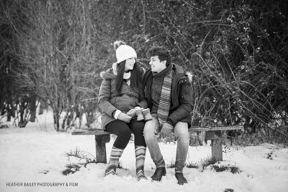 Winter Maternity Shoot in the Snow. Maternity Photo Shoot Ideas - Photography by Heather Bailey.