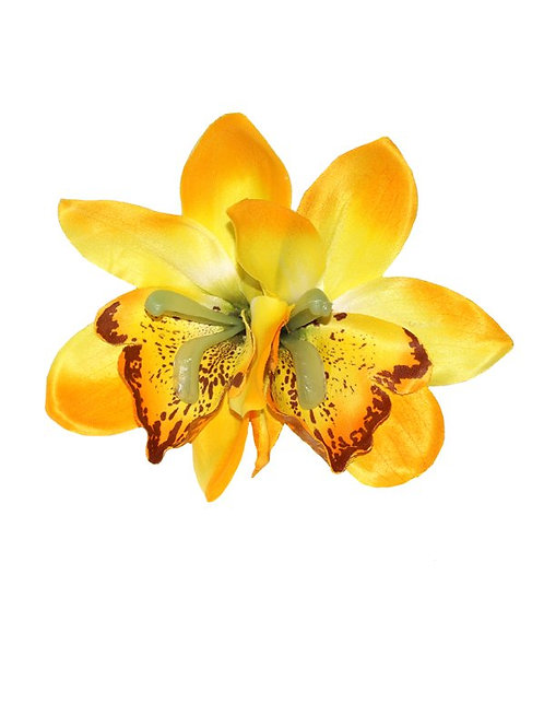 Double Yellow Orchid Hair Flower