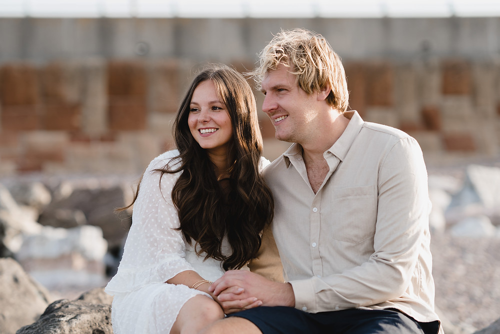 Pre Wedding Engagement Photo Shoot Ideas. Couple portraits on the beach in Somerset by Heather Bailey Photography