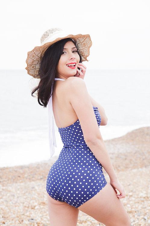 Blue And White Polka Dot Retro Swimsuit