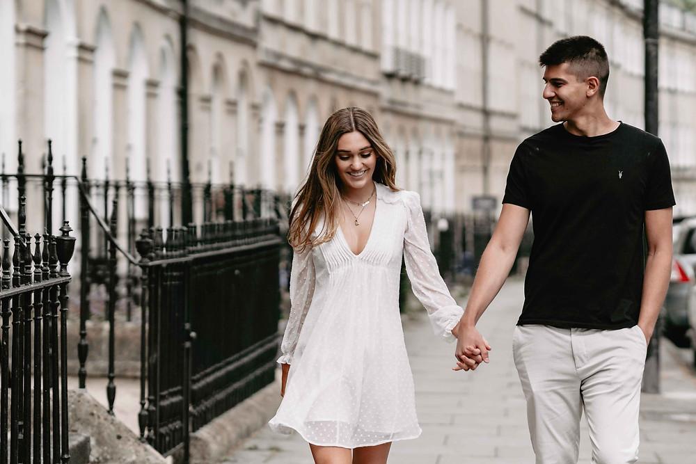 Couple Portrait Ideas for Engagement Shoots in Bath City Centre. Best Wedding Photographer Bath