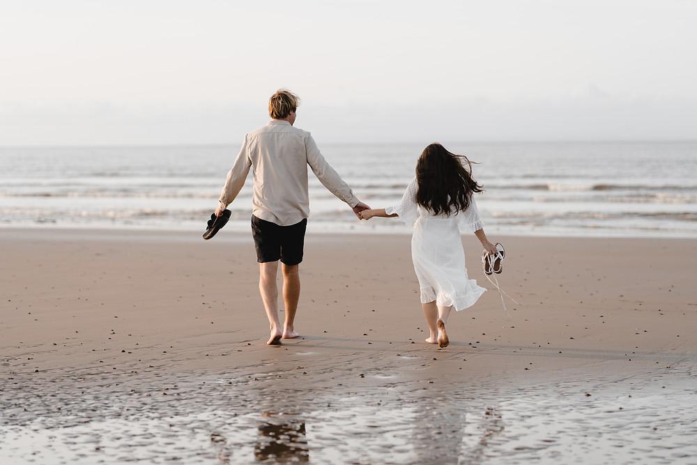 Couple Photo Shoot on the beach. Portraits by Heather Bailey Wedding Photographer Somerset