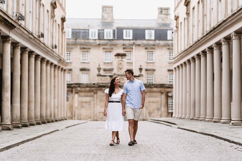 Bath City Centre Pre-Wedding Engagement Photography Bath, Somerset. Couple Portrait Ideas By Award Winning Wedding Photographer Heather Bailey