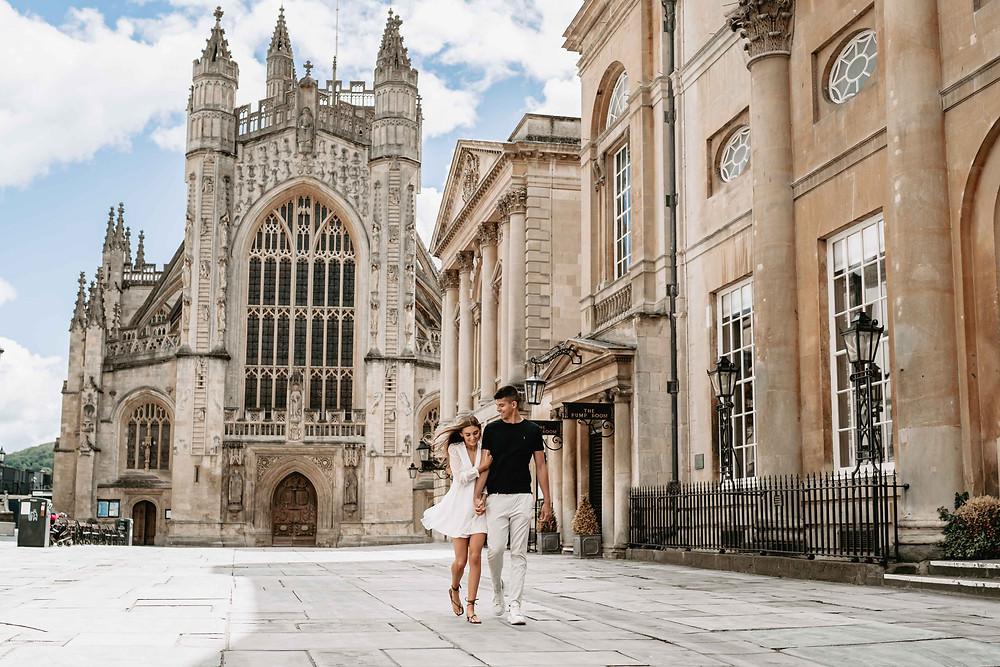 Pre-Wedding Photoshoot in Bath Abbey. Professional Wedding Photographer