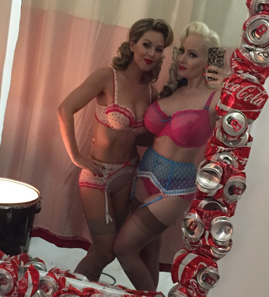 Heather Valentine and October Divine Lingerie Selfie Behind The Scenes at a Vintage Pin Up Photo Shoot