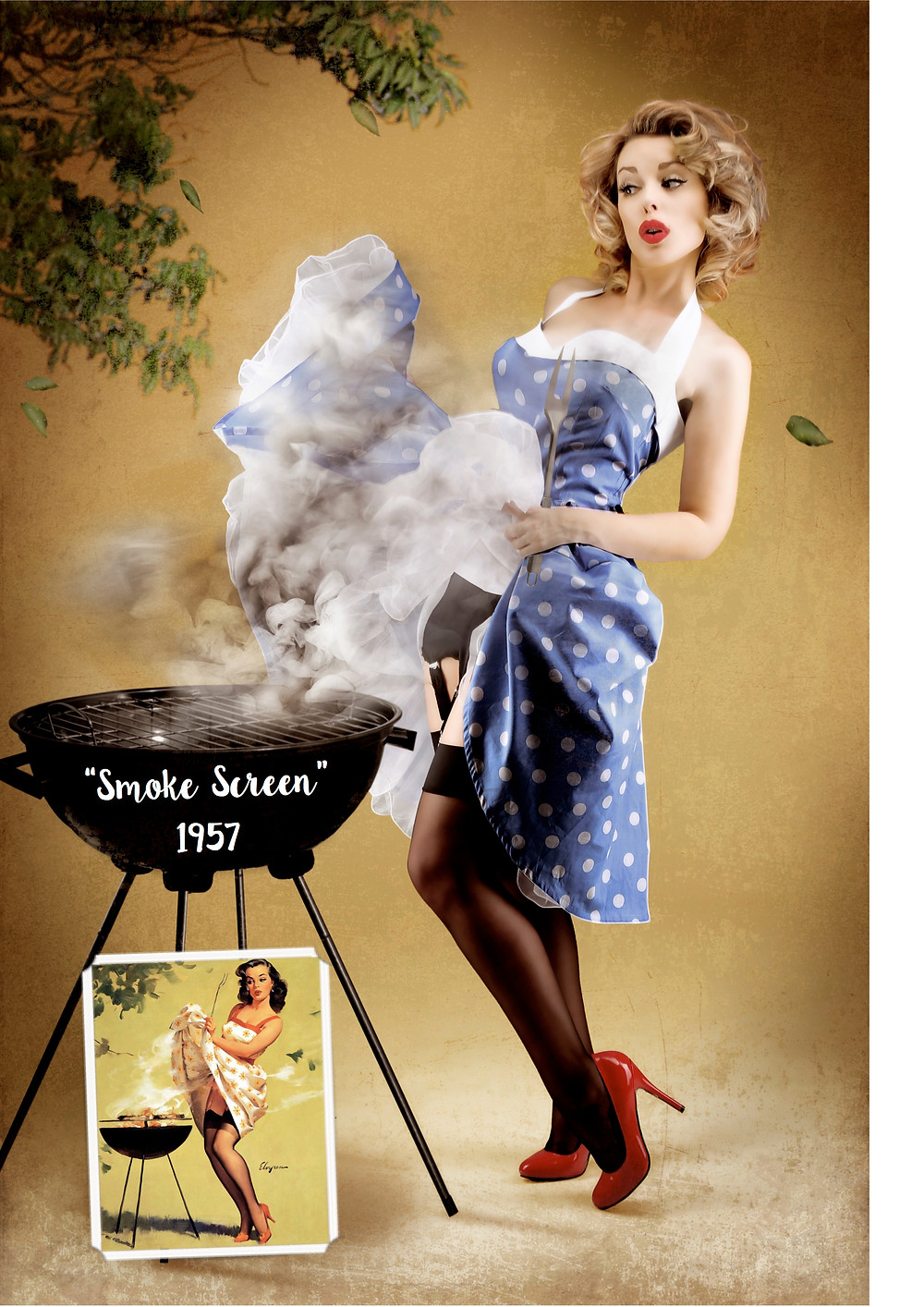 BBQ Pin Up | Smoke Screen 1957 Gil Elvgren inspired recreation pin up art with Heather Valentine Model by Dollhouse Photography