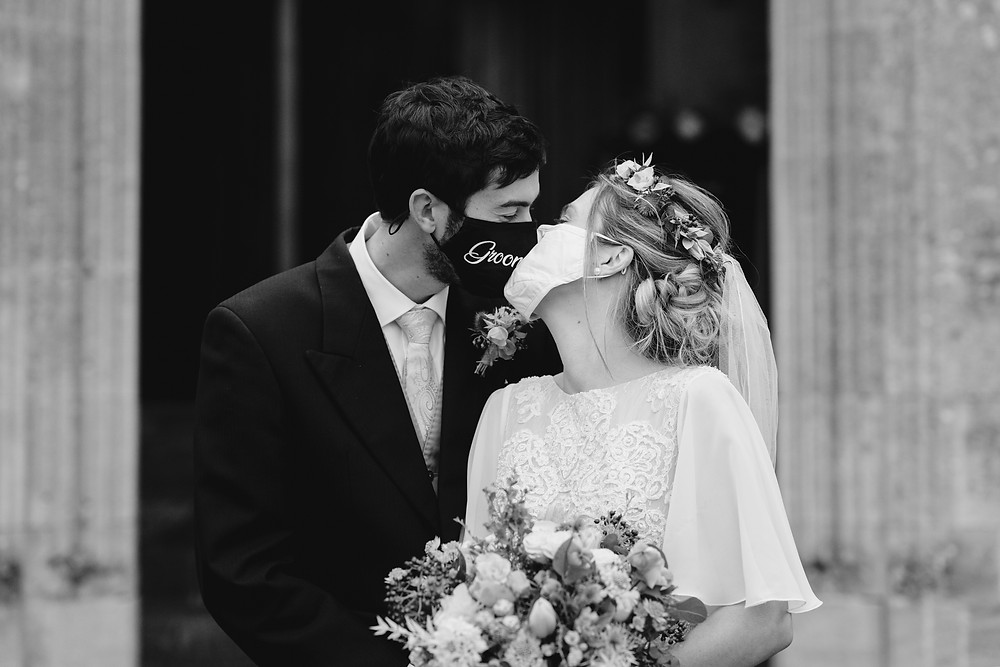 Covid Lockdown Wedding. Bride and Groom Facemasks. Wedding Restrictions. Wedding Photographer