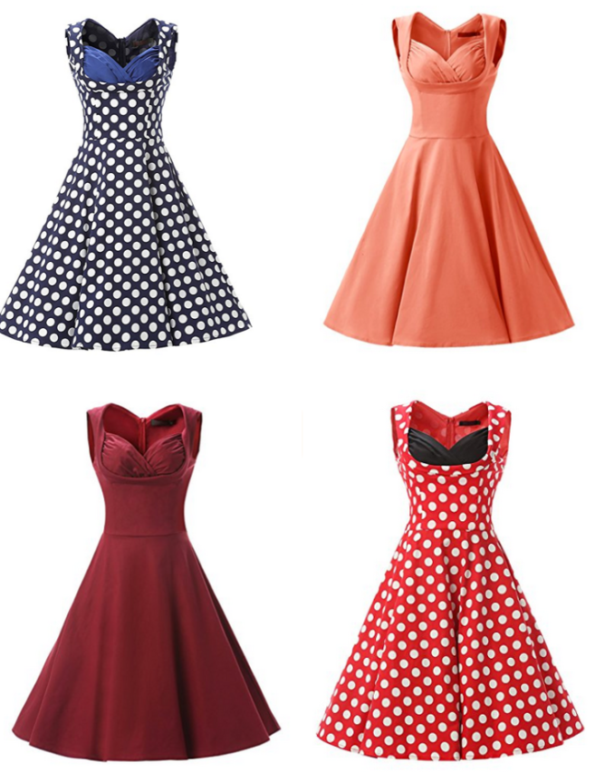 Pin Up Fashion Cheap 1950s 1940s Swing Dress in Red, Polka Dot, Blue perfect for pin up beginners! Retro Swing Dress Ideas
