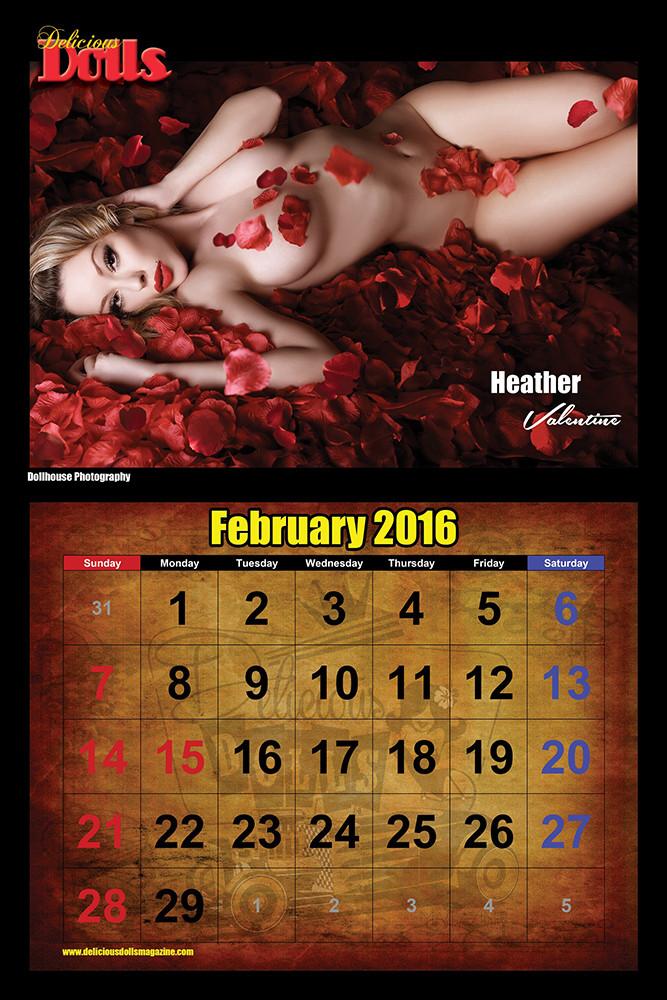Delicious Dolls Magazine 2016 Calendar February | Miss Heather Valentine