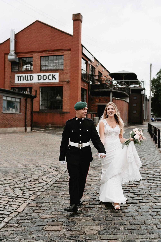 Bristol Wedding Photography. Couple Portraits Mud Dock Bristol Harbourside.