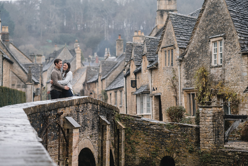 The Village of Castle Combe Cotswolds. Chocolate Box Picturesque photo shoot. Engagement Shoot