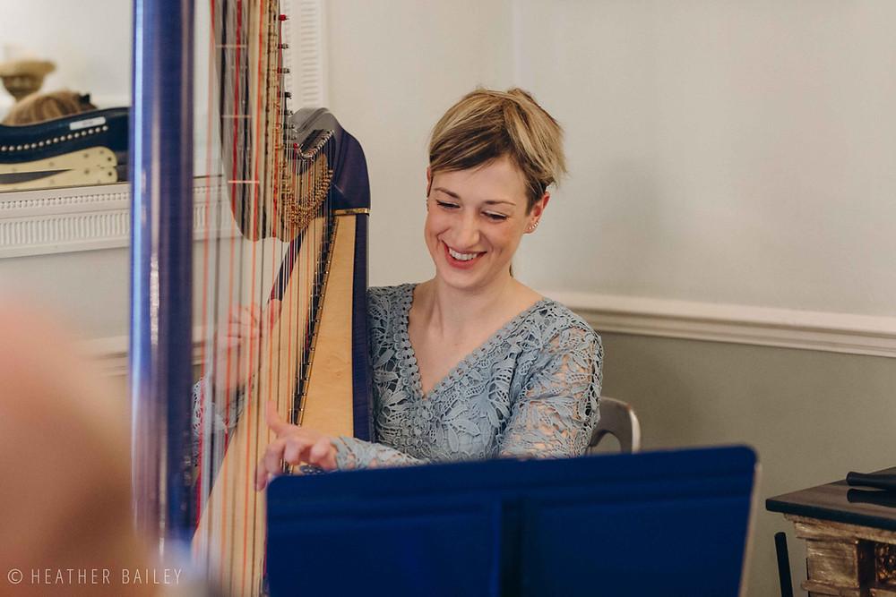 Jemima Phillips Wedding Harpist - Photographer at Beechfield House, Melksham, Wiltshire - Heather Bailey Wedding Photography and Videography