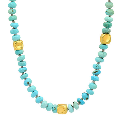 Turquoise + Hammered 18k Gold Beaded Necklace