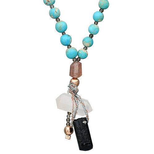 Turquoise and Smoky Quartz Beads