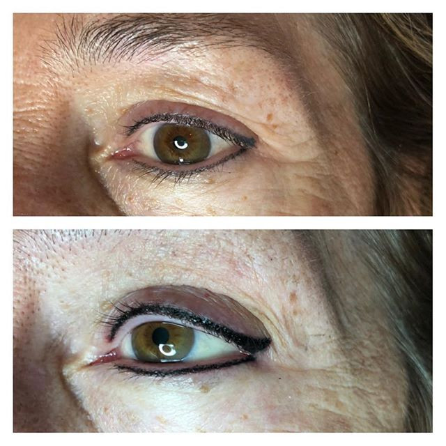Permanent eyeliner before and after touc