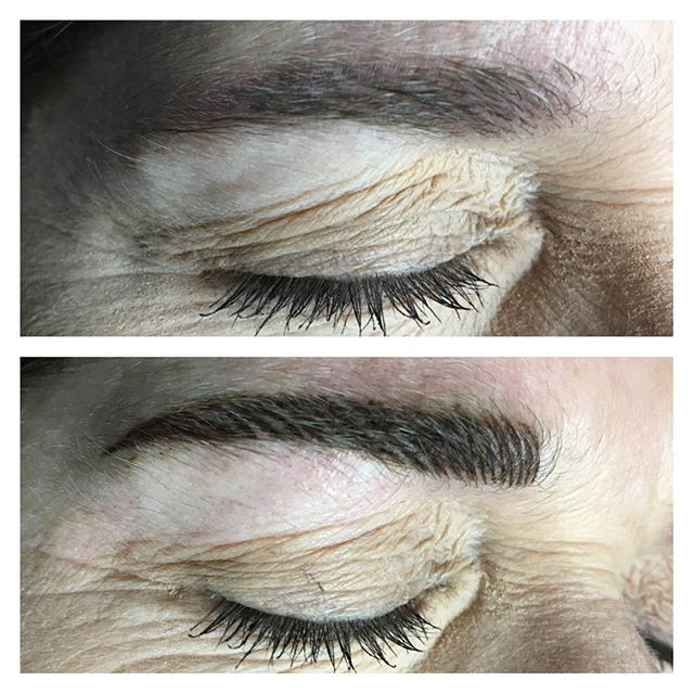 Permanent micro eyebrows before & after