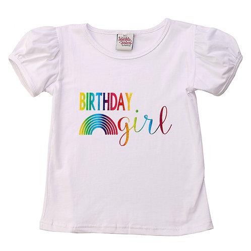 Rainbow Birthday Girl Puff Sleeve Tee WS