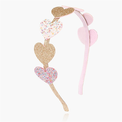 Pink Glitter Heart Headband