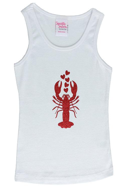 Red Glitter Lobster Tank WS