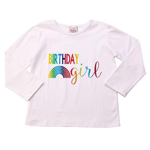 Long Sleeve Rainbow Birthday Girl Tee