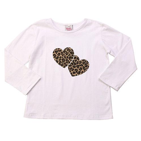 Leopard Hearts Long Sleeve Tee